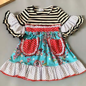 Other - Boutique Floral Striped Short Sleeve Ruffle Dress